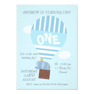 Elephant Hot Air Balloon 1st Birthday Invitation
