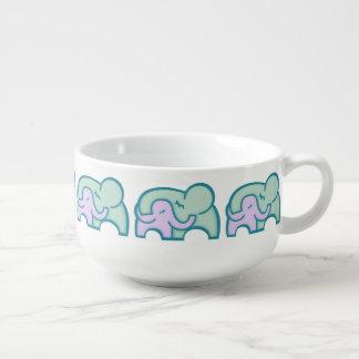 Elephant hug blue purple graphic soup bowl mug