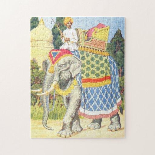 Elephant Illustration Vintage Childrens Book PuzzlesVintage Elephant Illustration