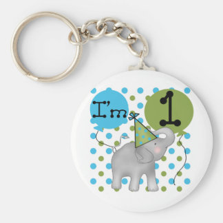 Elephant I'm 1 First Birthday Tshirts and Gifts Basic Round Button Key Ring