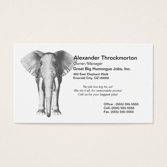 Elephant in Black and White Business Card