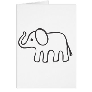 Elephant in Black and White Sketch Card