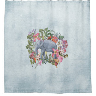 Elephant in flower jungle 1 shower curtain