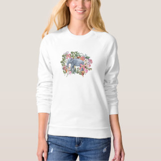 Elephant in flower jungle sweatshirt