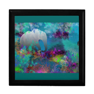 Elephant In Future Fantasyland - Tropical Large Square Gift Box