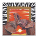 Elephant in Love Sunset and Zebra print Canvas Prints