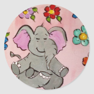 Elephant in meditation classic round sticker