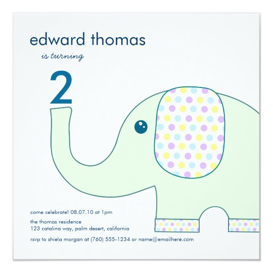 Elephant In Pastels Birthday Invitations