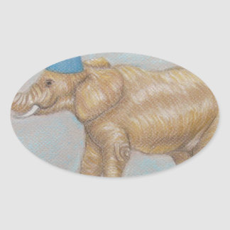 elephant in the circus oval sticker