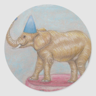 elephant in the circus round sticker