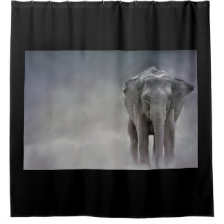 elephant in the jungle shower curtain