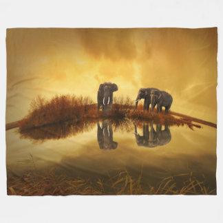 Elephant In The Sunset Fleece Blanket