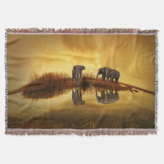 Elephant In The Sunset Throw Blanket
