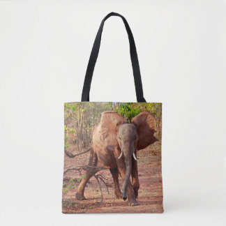 Elephant in Warning Pose Tote Bag