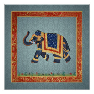 Elephant indian blue grey red gold Poster