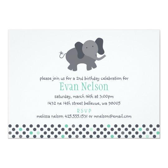elephant invitation (birthday or baby shower)