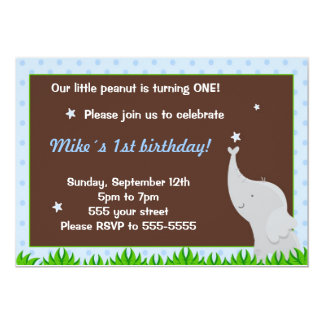 Elephant Invitation Boy Birthdat Party Blue Brown