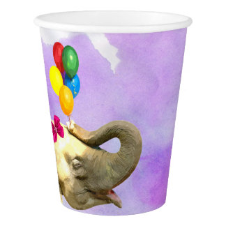 Elephant jungle animal watercolor baby shower paper cup