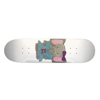 Elephant Jungle Friends Baby Animal Water Color Skate Board Deck