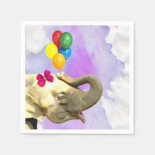 Elephant jungle safari animal watercolor disposable napkins