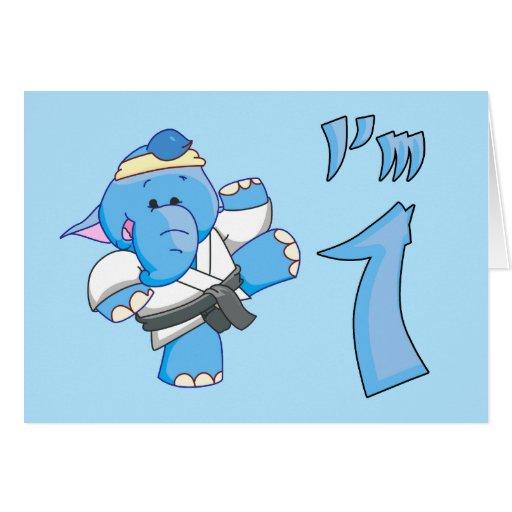 Elephant Karate 1st Birthday Card