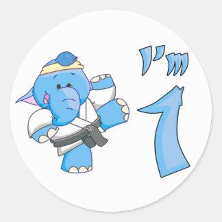 Elephant Karate 1st Birthday Stickers