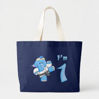 Elephant Karate 1st Birthday Tote Bags