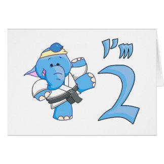 Elephant Karate 2nd Birthday Greeting Card
