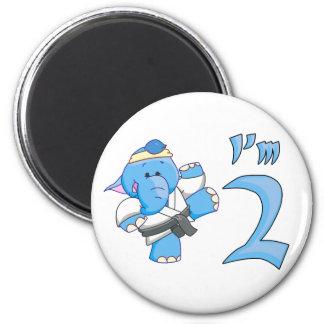 Elephant Karate 2nd Birthday Fridge Magnet