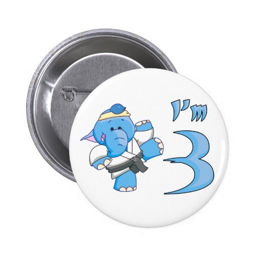Elephant Karate 3rd Birthday Buttons