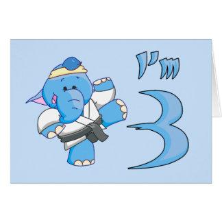 Elephant Karate 3rd Birthday Greeting Card