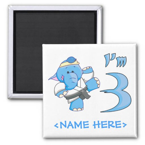 Elephant Karate 3rd Birthday Fridge Magnets