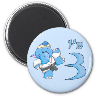 Elephant Karate 3rd Birthday Magnets