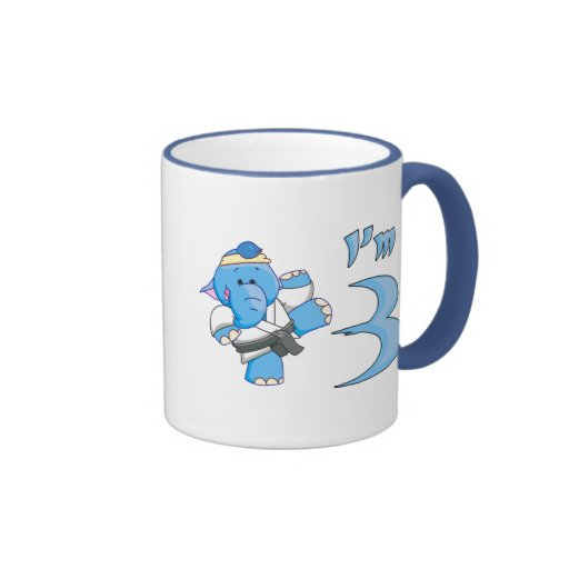Elephant Karate 3rd Birthday Coffee Mugs
