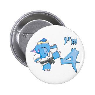 Elephant Karate 4th Birthday 6 Cm Round Badge