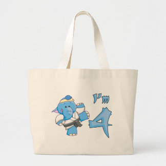Elephant Karate 4th Birthday Canvas Bag