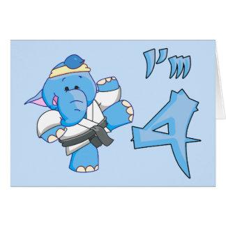 Elephant Karate 4th Birthday Cards