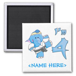 Elephant Karate 4th Birthday Magnets