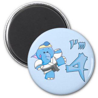 Elephant Karate 4th Birthday Refrigerator Magnet