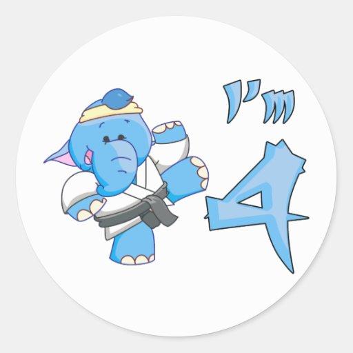 Elephant Karate 4th Birthday Stickers