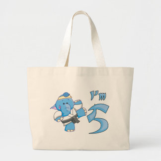 Elephant Karate 5th Birthday Canvas Bags