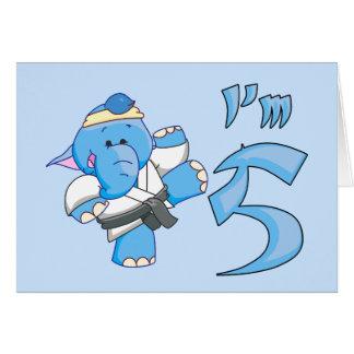 Elephant Karate 5th Birthday Cards