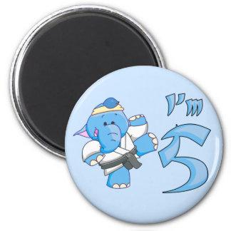Elephant Karate 5th Birthday Fridge Magnets