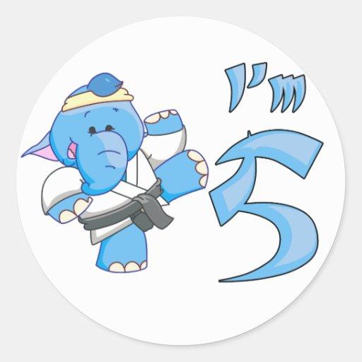 Elephant Karate 5th Birthday Sticker