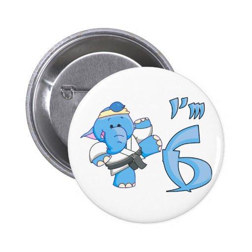 Elephant Karate 6th Birthday Pins