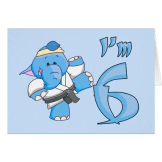 Elephant Karate 6th Birthday Card