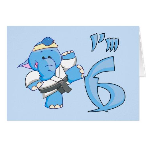 Elephant Karate 6th Birthday Greeting Cards