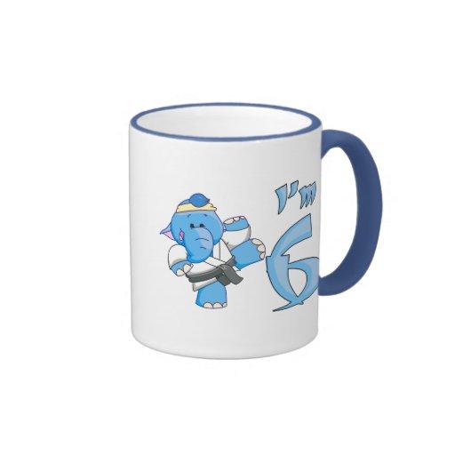 Elephant Karate 6th Birthday Coffee Mug