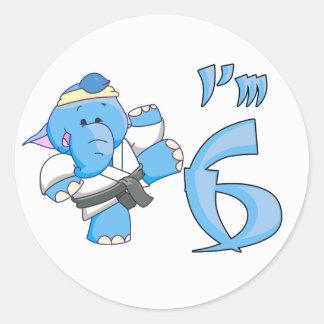 Elephant Karate 6th Birthday Round Stickers