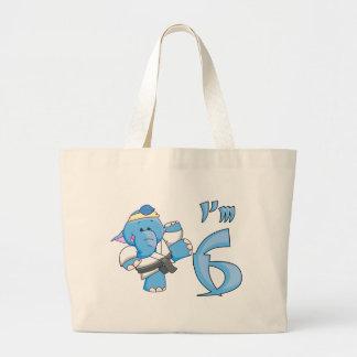 Elephant Karate 6th Birthday Tote Bags